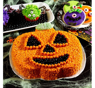 Friendly Crispy Rice Jack o' Lantern Cake How To