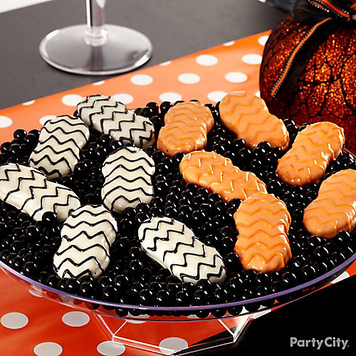 Modern Halloween Candy Dipped Chevron Cookies How To