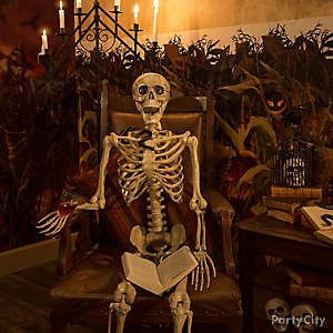 Skeleton Reading a Halloween Story Idea
