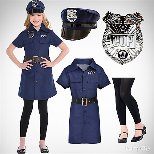 girls police officer costume idea - Girls Cop Halloween Costume
