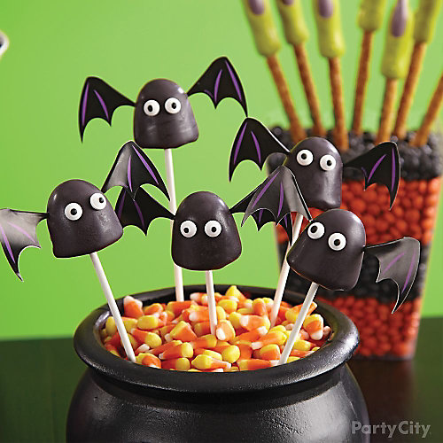 Witch's Crew Bat Brownie Pops How To