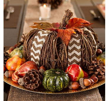 Twig Pumpkin Centerpiece Idea