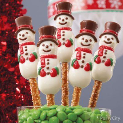 Snowman Pretzel Pops How To