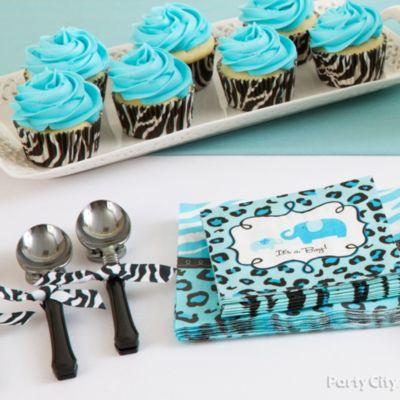 Blue Safari Baby Shower Cutlery Idea