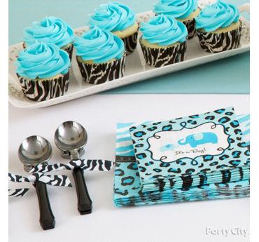 Lovely Blue Safari Baby Shower Cutlery Idea