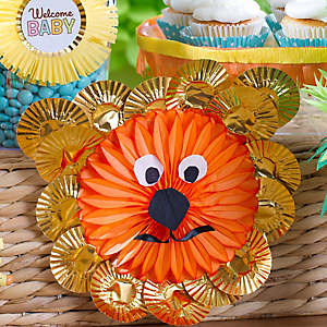 DIY Jungle Theme Baby Shower Lion Fan Decoration Idea