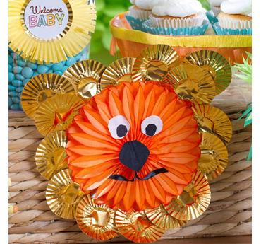 DIY Jungle Theme Baby Shower Lion Fan Decoration Idea