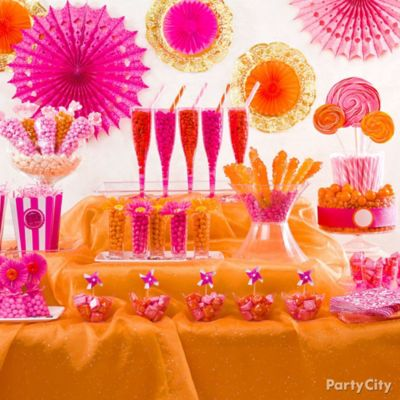 Pink and Orange Candy Buffet Ideas