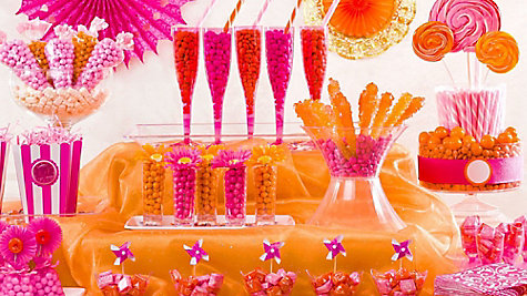 Pink & Orange Candy Buffet Ideas