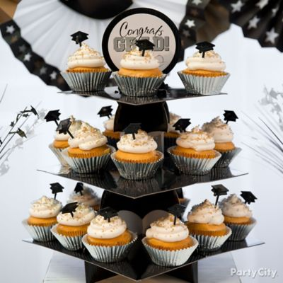 Silver & Gold Grad Cap Cupcake Tower Idea