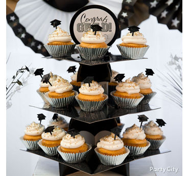 Silver and Gold Grad Cap Cupcake Tower Idea