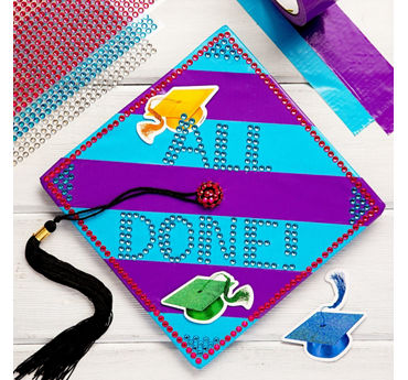 Blue & Purple All Done Grad Cap DIY