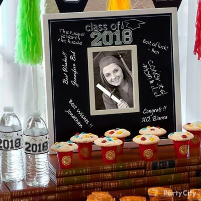 Grad Chalkboard and Photo Frame Centerpiece Idea