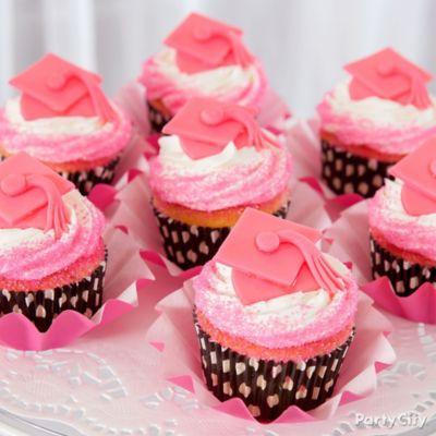 Cupcake Decorating Ideas Pink And Black : Pink Fondant Grad Cap Cupcake Topper Idea - Pink and Zebra ...