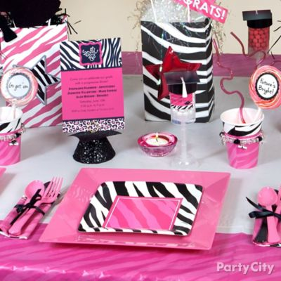 Pink and Zebra Place Setting Idea