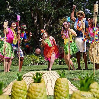 Luau Pineapple Bowling Idea
