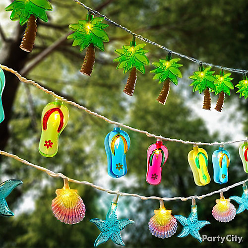 tropical string lights ideas   summer pool party ideas