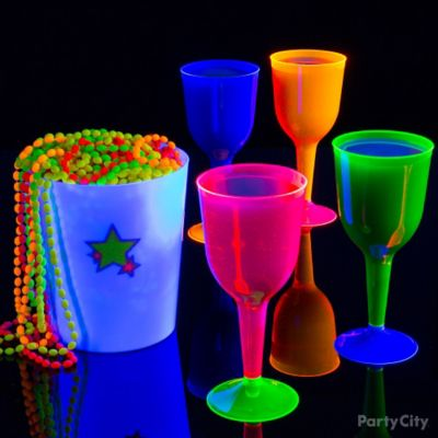 Black Light Party Colorful Wines Idea
