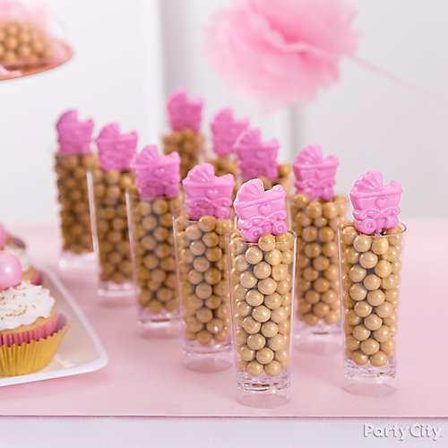 Pink Baby Shower Stroller Candy Idea