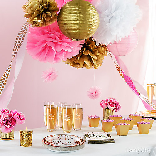 pink and gold bridal shower decorations idea - Party City Decorations