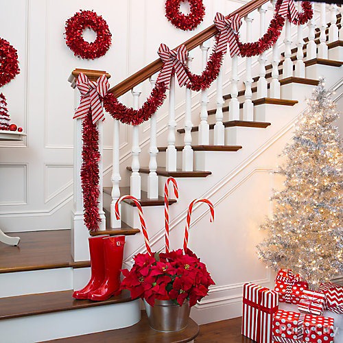 Candy Striped Stairway Decor Idea