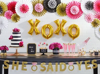 Pink Gold and Stripes Bridal Shower Ideas