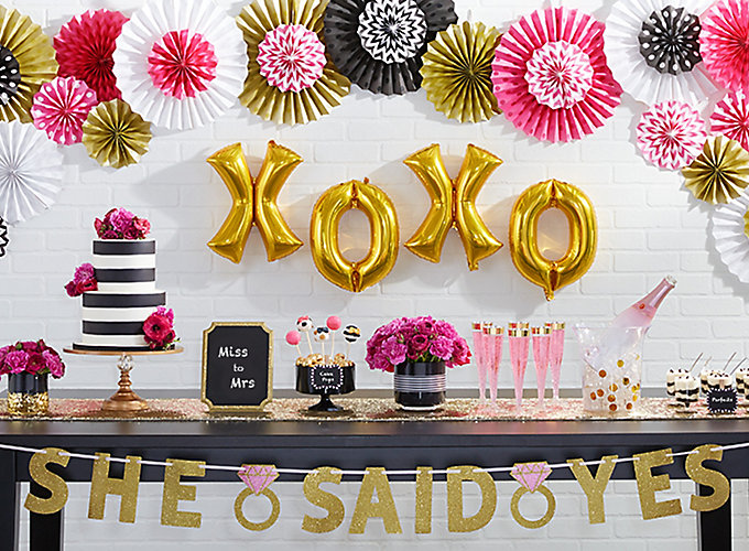 Bridal shower ideas party city party city pink gold and stripes bridal shower ideas altavistaventures Gallery