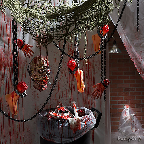 Halloween bloody basement decorations how to party city for Halloween haunted room ideas