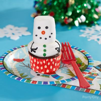 Holiday Cookie Party Snowman Cupcake Idea