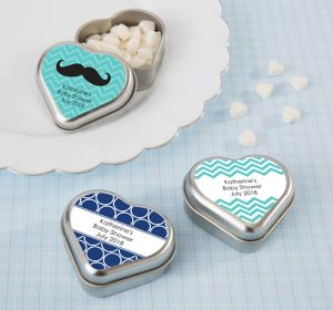 Baby Boy Personalized Baby Shower Heart-Shaped Mint Tins with Candy (Printed Label)