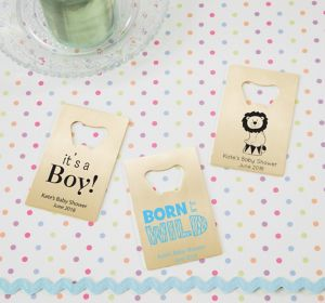 Baby Boy Personalized Baby Shower Credit Card Bottle Openers - Gold (Printed Metal)