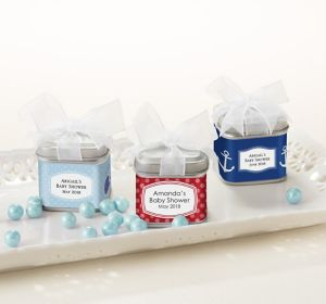 Baby Boy Personalized Baby Shower Favor Tins with Bows (Printed Label)