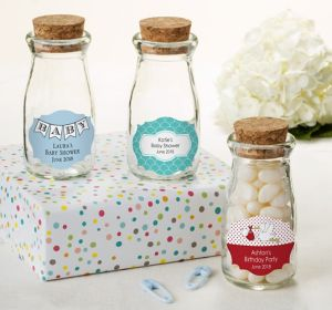 Baby Boy Personalized Baby Shower Glass Milk Bottles with Corks (Printed Label)