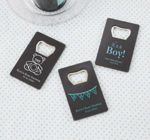 Baby Boy Personalized Baby Shower Credit Card Bottle Openers - Black (Printed Plastic)