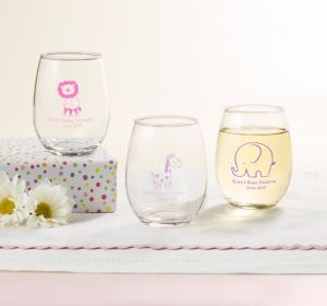 Baby Girl Personalized Baby Shower Stemless Wine Glasses 9oz (Printed Glass)