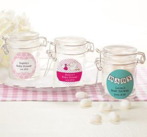 Baby Girl Personalized Baby Shower Small Glass Jars (Printed Label)