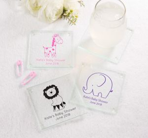 Baby Girl Personalized Baby Shower Glass Coasters (Printed Glass)