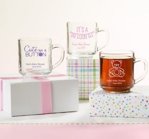 Baby Girl Personalized Baby Shower Glass Coffee Mugs (Printed Glass)