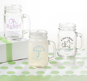 Gender Neutral Personalized Baby Shower Mason Jar Mugs (Printed Glass)