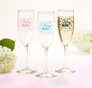 Girl or Boy Personalized Gender Reveal Champagne Flutes (Printed Glass)