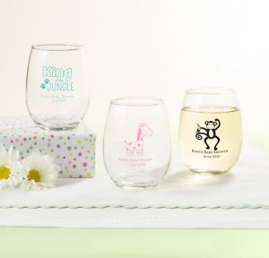 Fisher-Price Jungle Personalized Baby Shower Stemless Wine Glasses 9oz (Printed Glass)