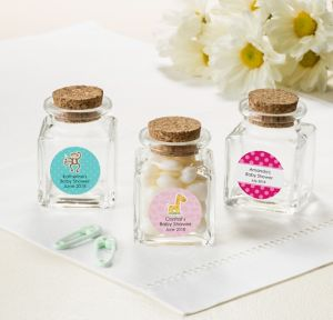 Fisher-Price Jungle Personalized Baby Shower Small Glass Bottles with Corks (Printed Label)