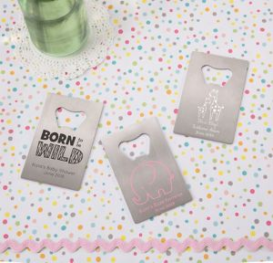 Pink Safari Personalized Baby Shower Credit Card Bottle Openers - Silver (Printed Metal)