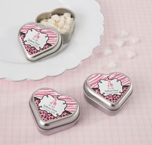 Pink Safari Personalized Baby Shower Heart-Shaped Mint Tins with Candy (Printed Label)