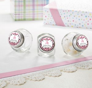 Pink Safari Personalized Baby Shower Glass Candy Jars (Printed Label)