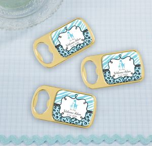 Blue Safari Personalized Baby Shower Bottle Openers - Gold (Printed Epoxy Label)