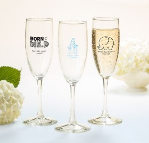Blue Safari Personalized Baby Shower Champagne Flutes (Printed Glass)