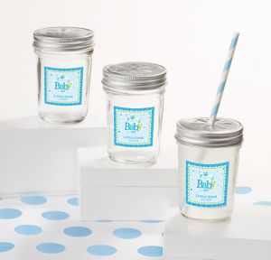 Welcome Baby Boy Personalized Baby Shower Mason Jars with Daisy Lids (Printed Label)