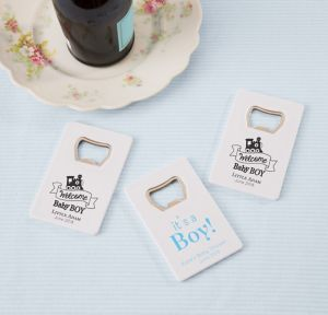 Welcome Baby Boy Personalized Baby Shower Credit Card Bottle Openers - White (Printed Plastic)