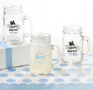 Welcome Baby Boy Personalized Baby Shower Mason Jar Mugs (Printed Glass)